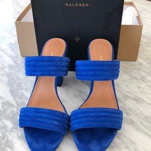 Halogen Hadella Suede Slide Heels - 8 Cobalt Blue